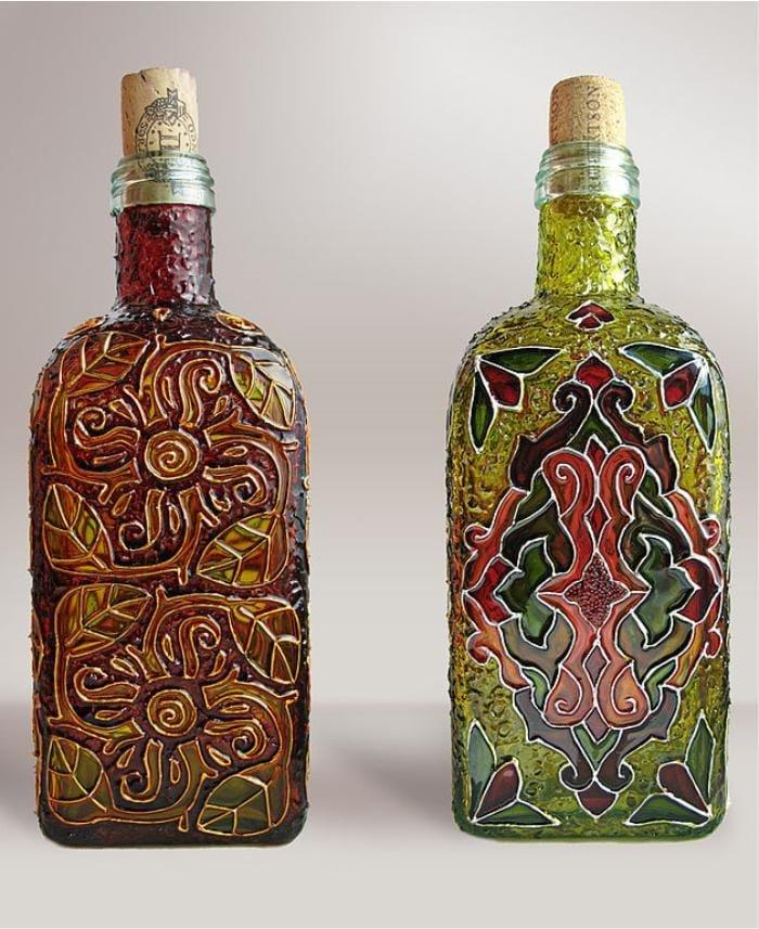 Роспись витражными красками бутылок