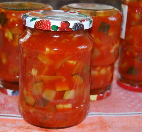 Салат на зиму с кабачком помидорами