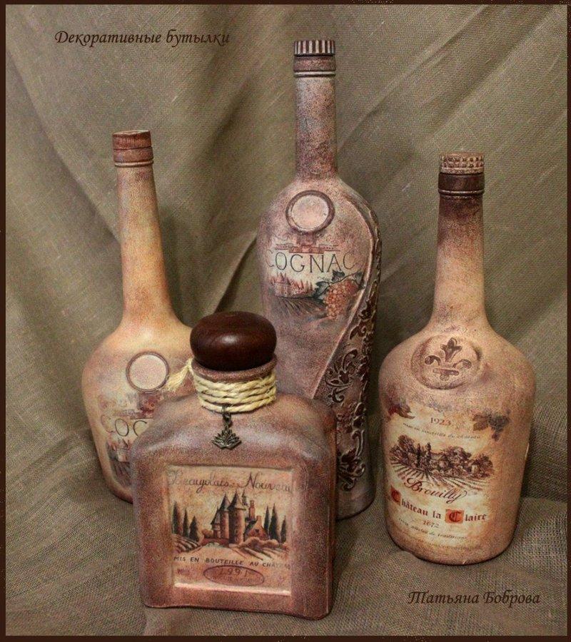 Декупаж бутылки картой