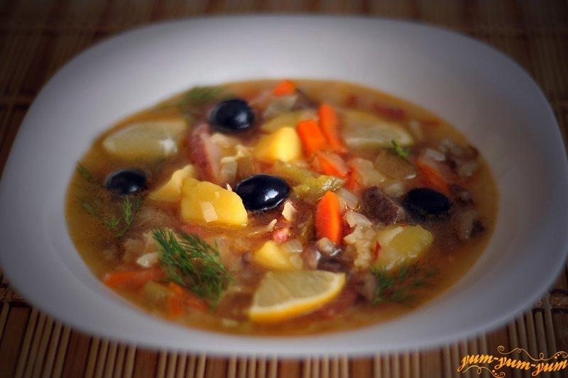 Солянка с грибами рецепт с пошаговый