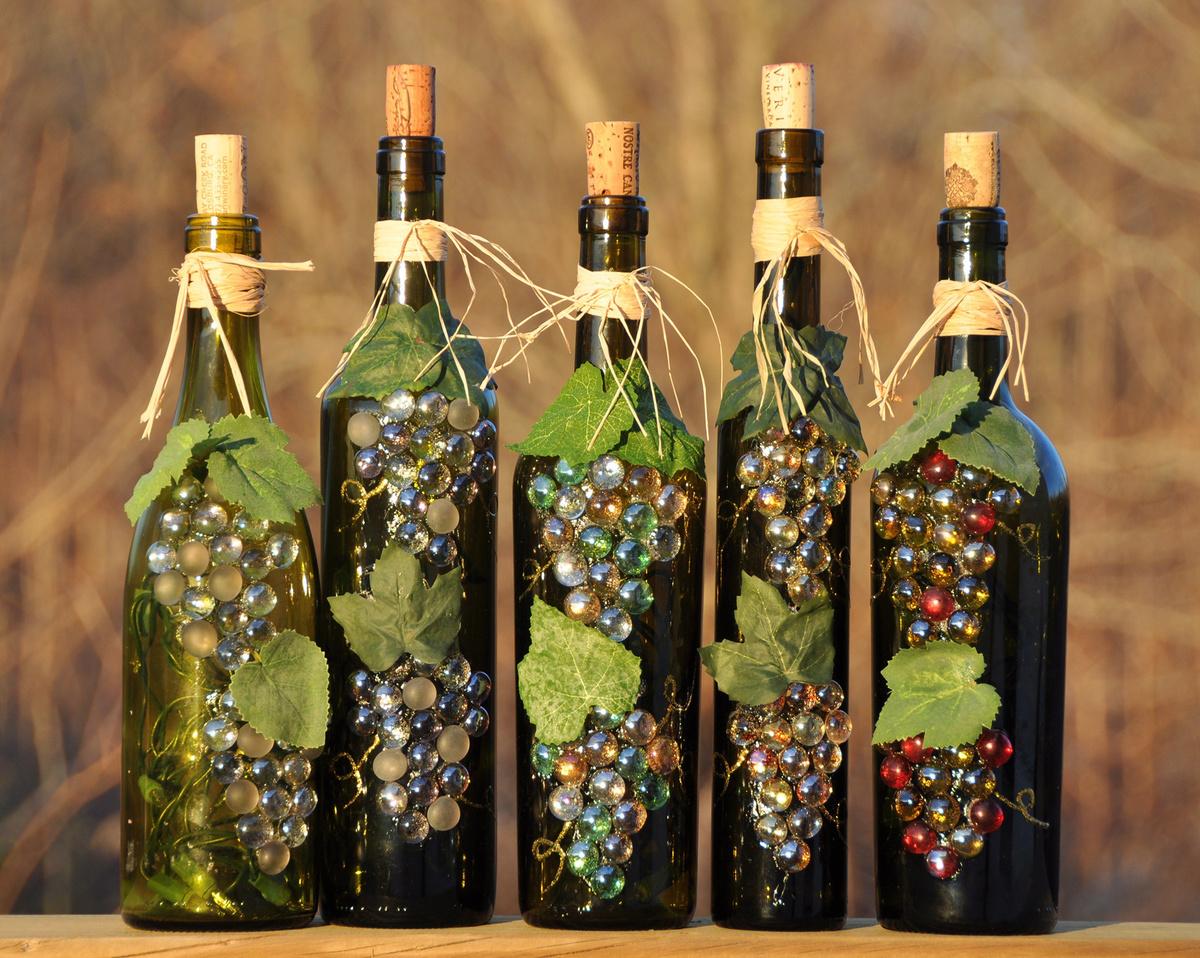 Украсить бутылку с вином своими руками 332