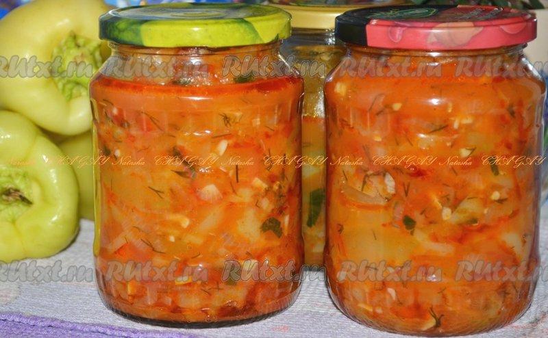 Салат из кабачка с помидорами на зиму