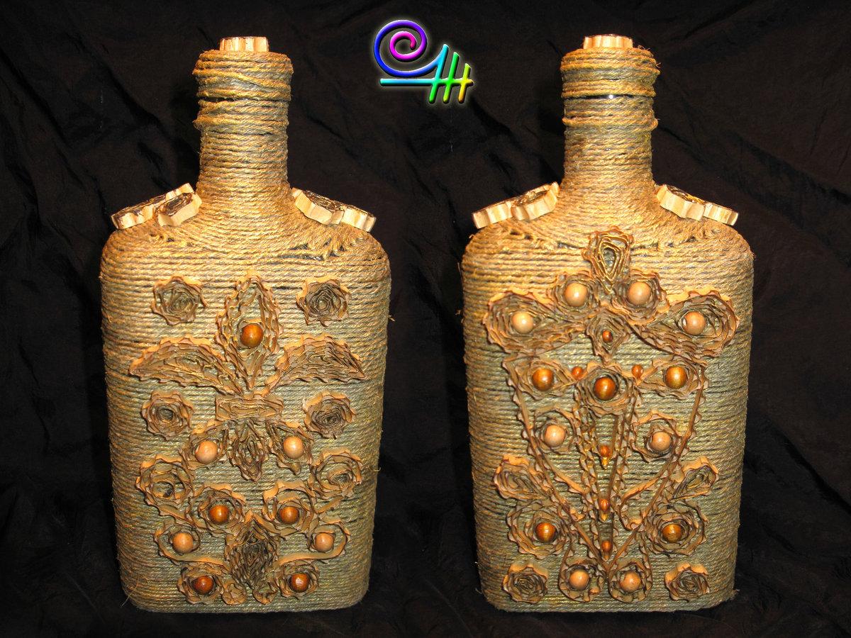 Декор бутылок крупами своими руками мастер класс