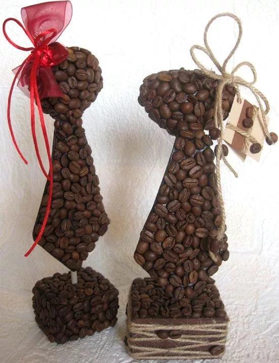 Подарок из кофейных зерен своими руками 60