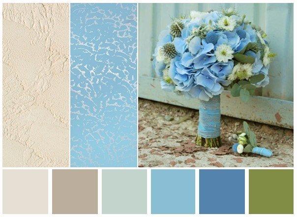 Сочетание цвета с голубым в интерьере