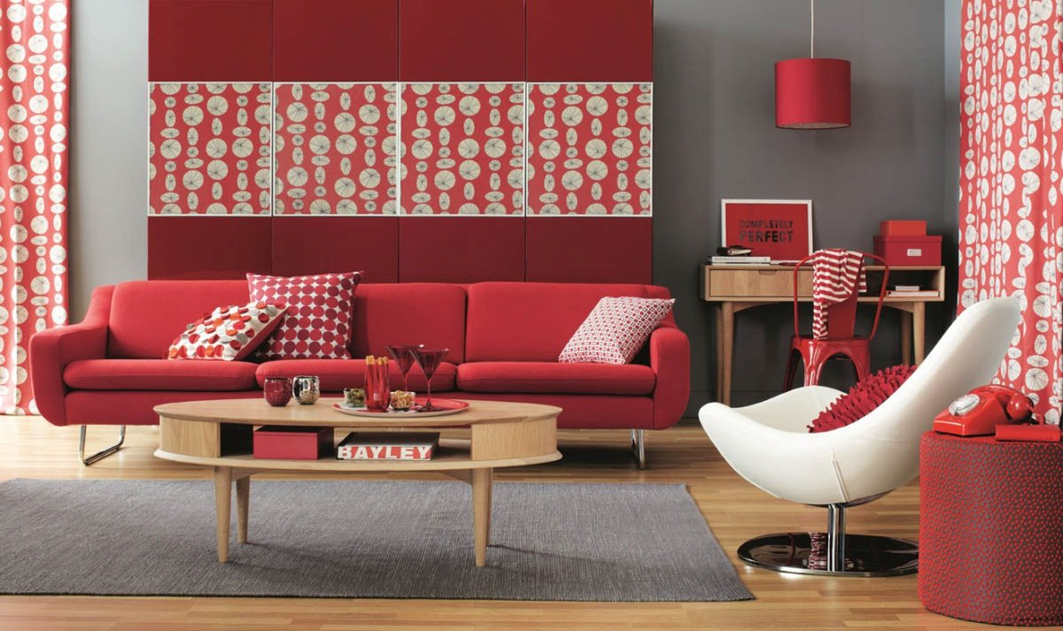 Мебель красного цвета в интерьере