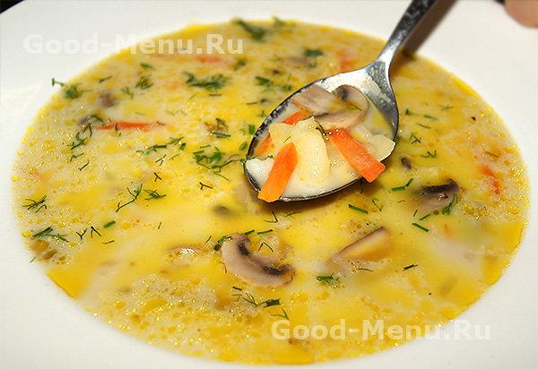 Рецепт суп с грибами с сырам с мясом