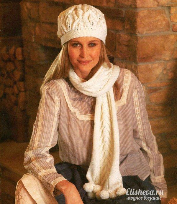 Вязание на спицах зимние из белой пряжи