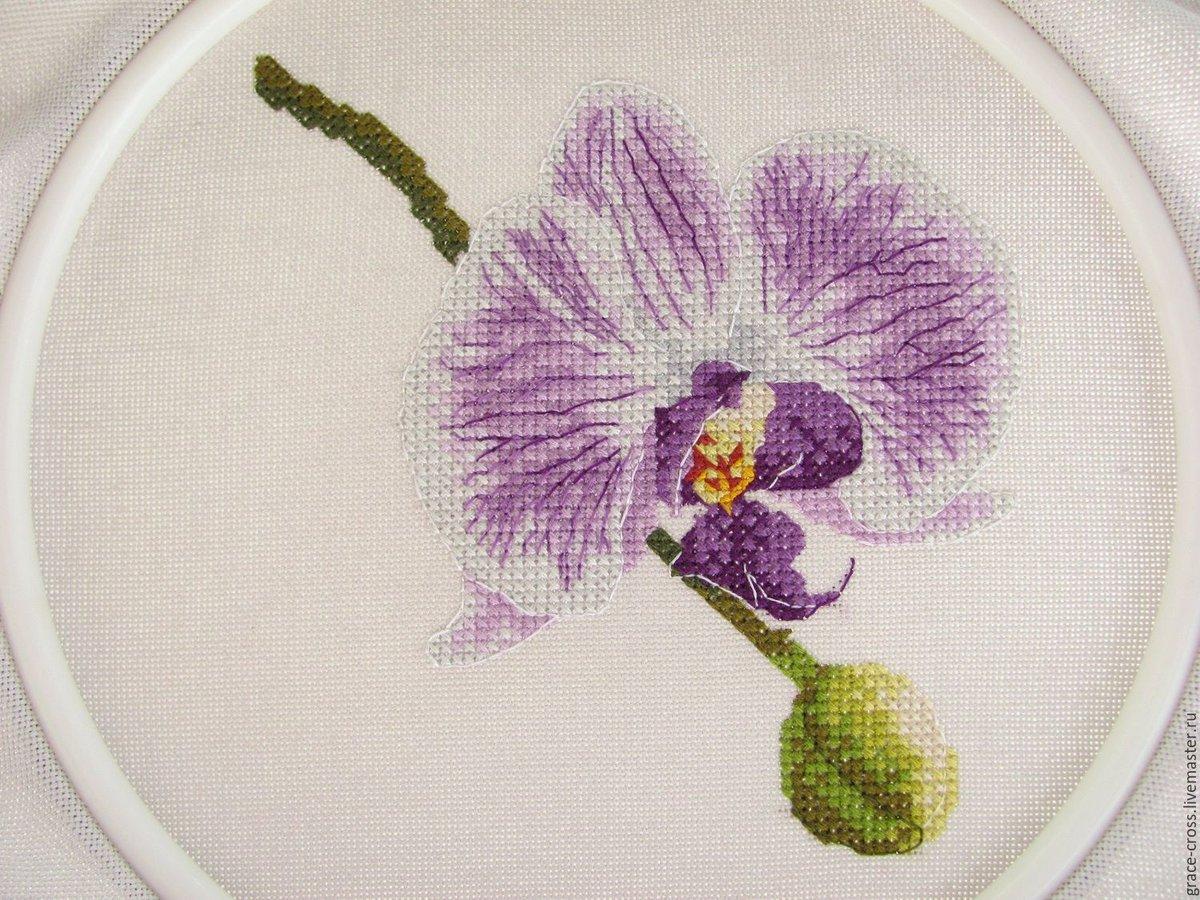Вышивка с фиолетовыми цветами 64