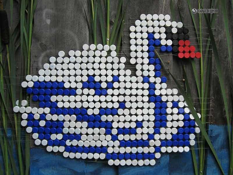 Фото поделки из пластиковых крышек