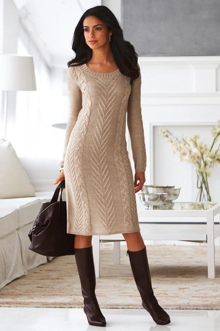 Вязание теплого платья на спицах для 545