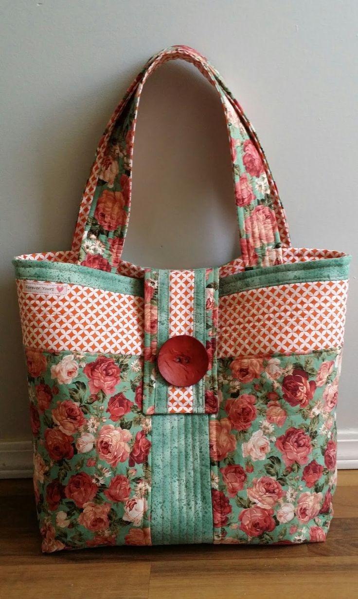 Сшить пляжную сумку в стиле пэчворк 35