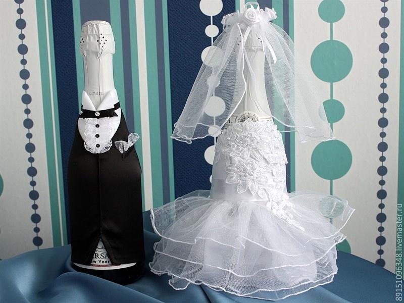 Украшение для свадебного шампанского своими руками