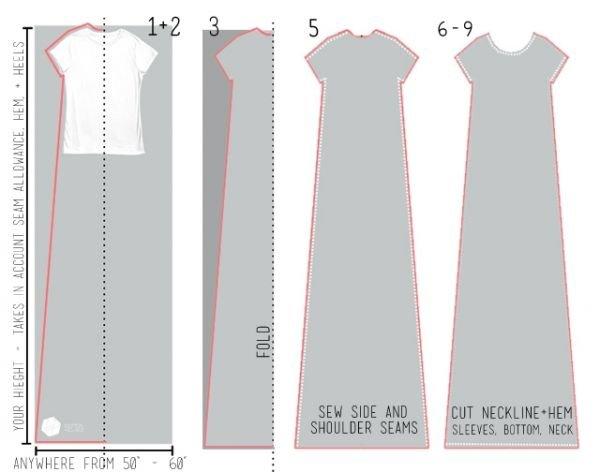 Длинное платье сшить без выкройки