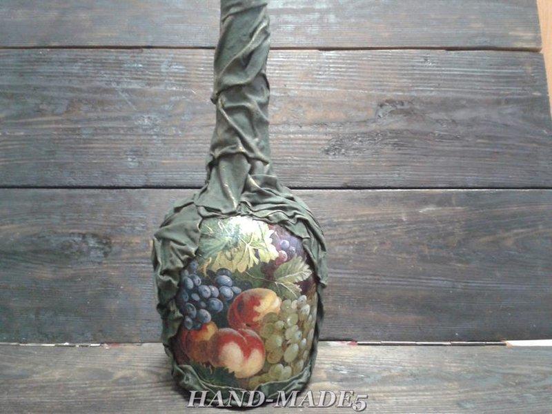 Декорирование бутылок тканью своими руками мастер-класс фото