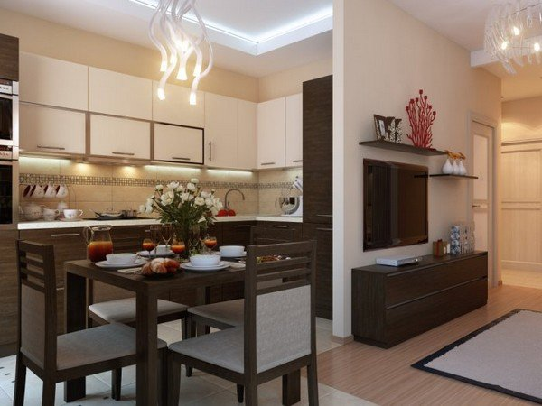 Кухня Дизайн однокомнатной в хрущевке фото