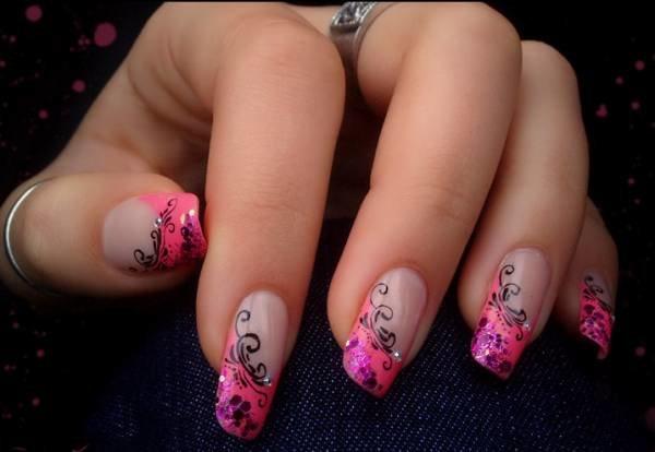 Рисунки на ногтях розовым цветом