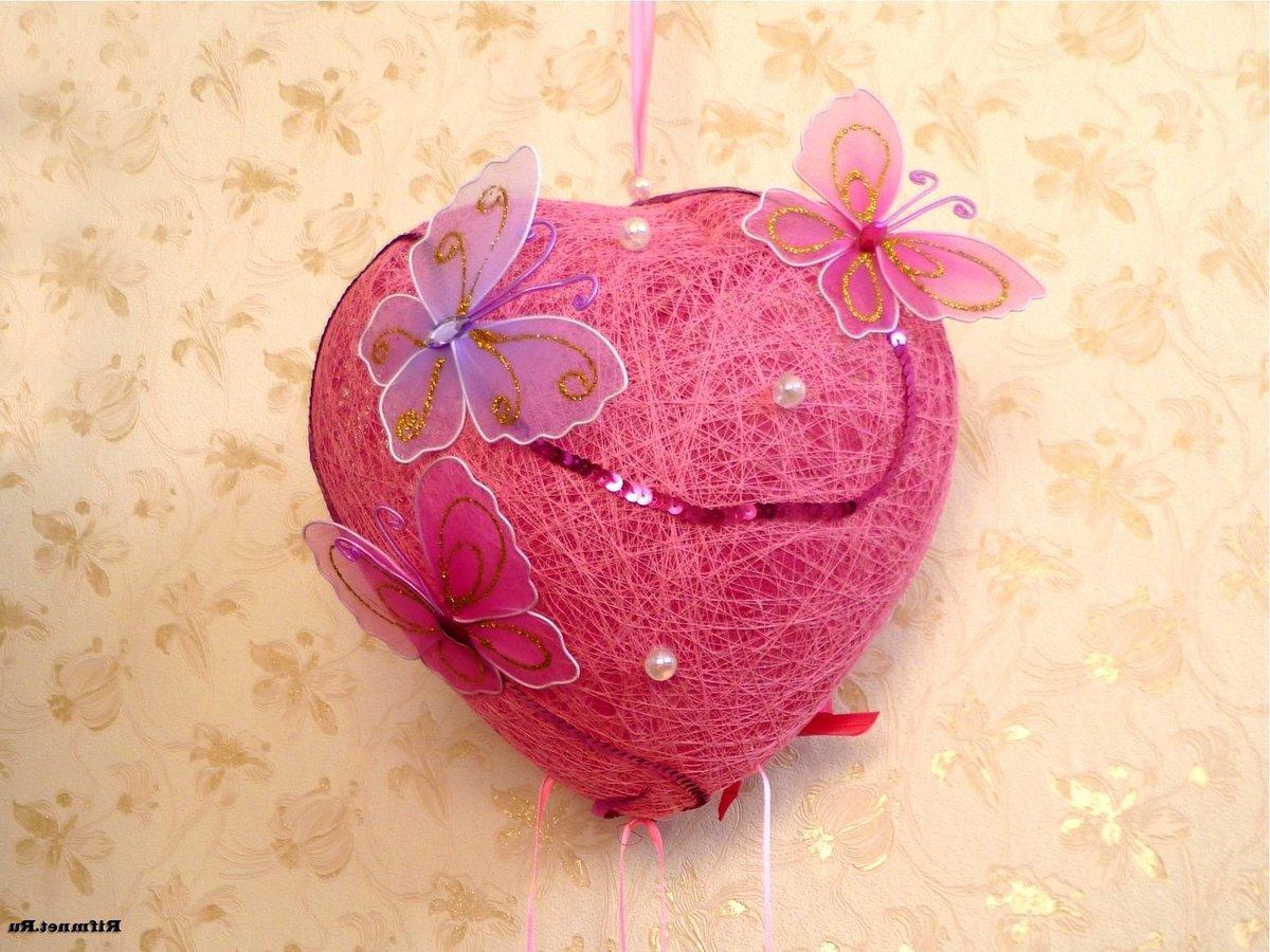 Сердце из шариков и ниток своими руками