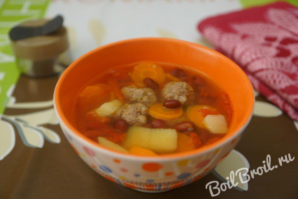 Томатный суп с фасолью и фрикадельками рецепт 135