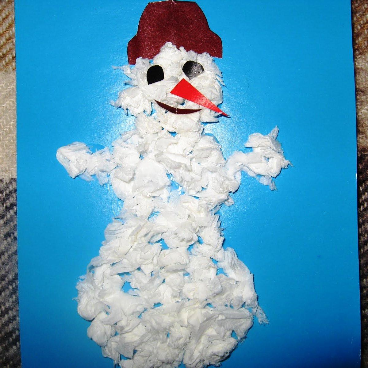 Детская поделка своими руками снеговик