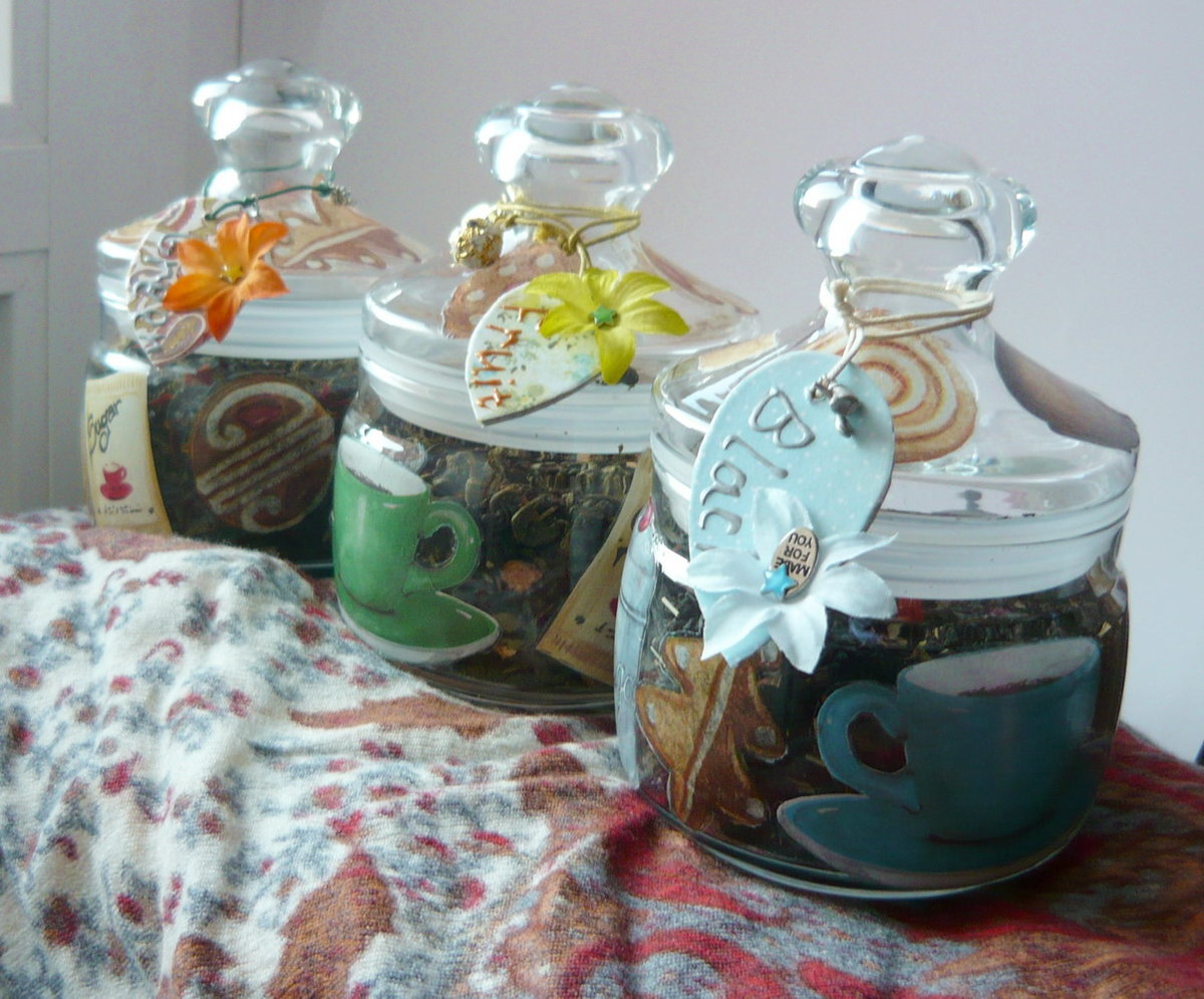Декупаж банок для чая своими руками