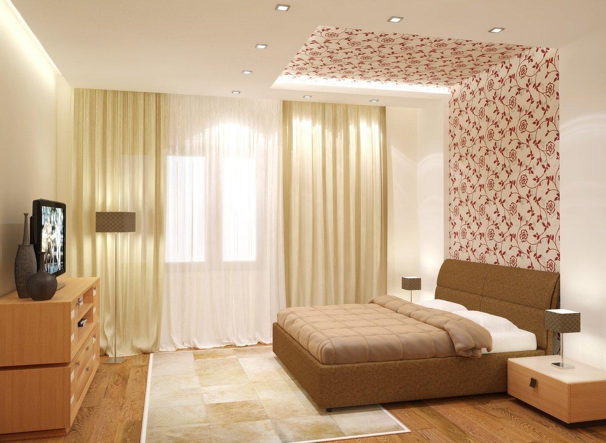 Дизайн комната с комбинированными разными обоями