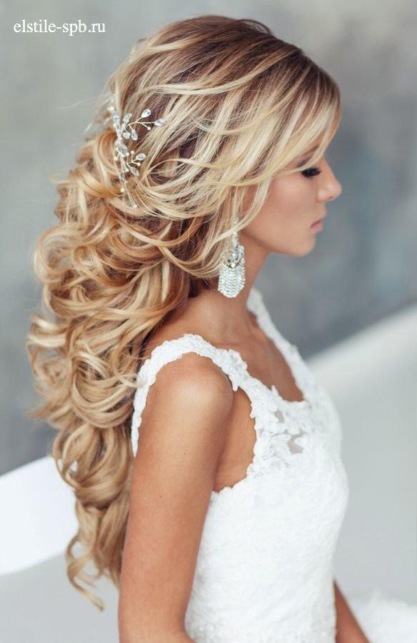 Прическа на свадьбу на средние волосы распущенные