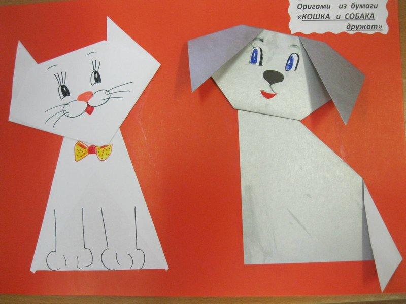 Как сделать кошку из бумаги легко для детей