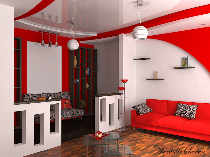 Красно-белый интерьер фото