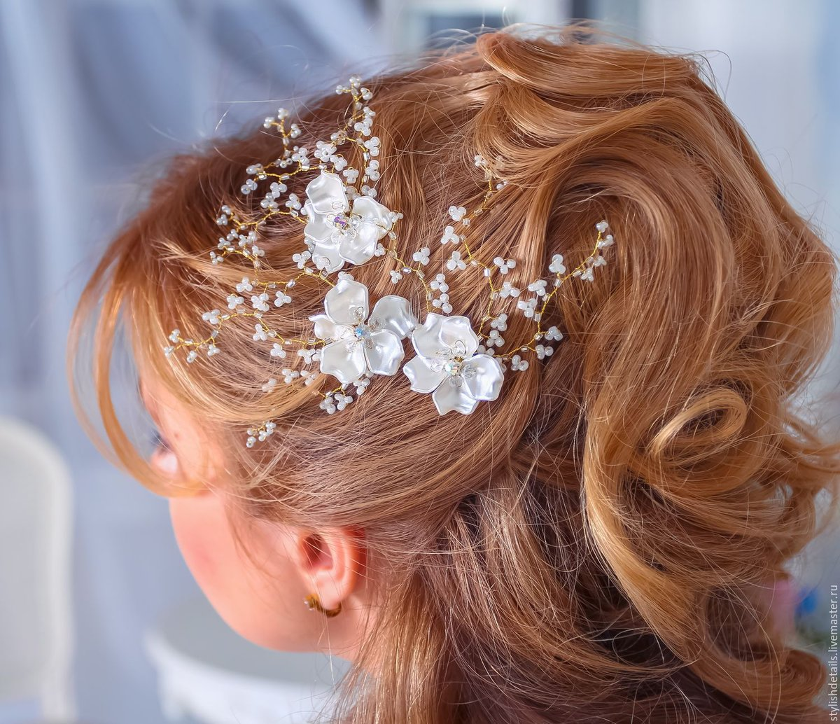 Фото свадебные шпильки в прическу
