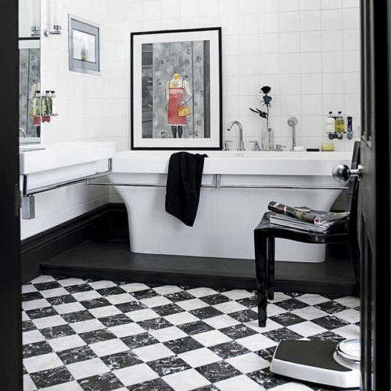 Дизайн ванной с черно-белой плиткой дизайн
