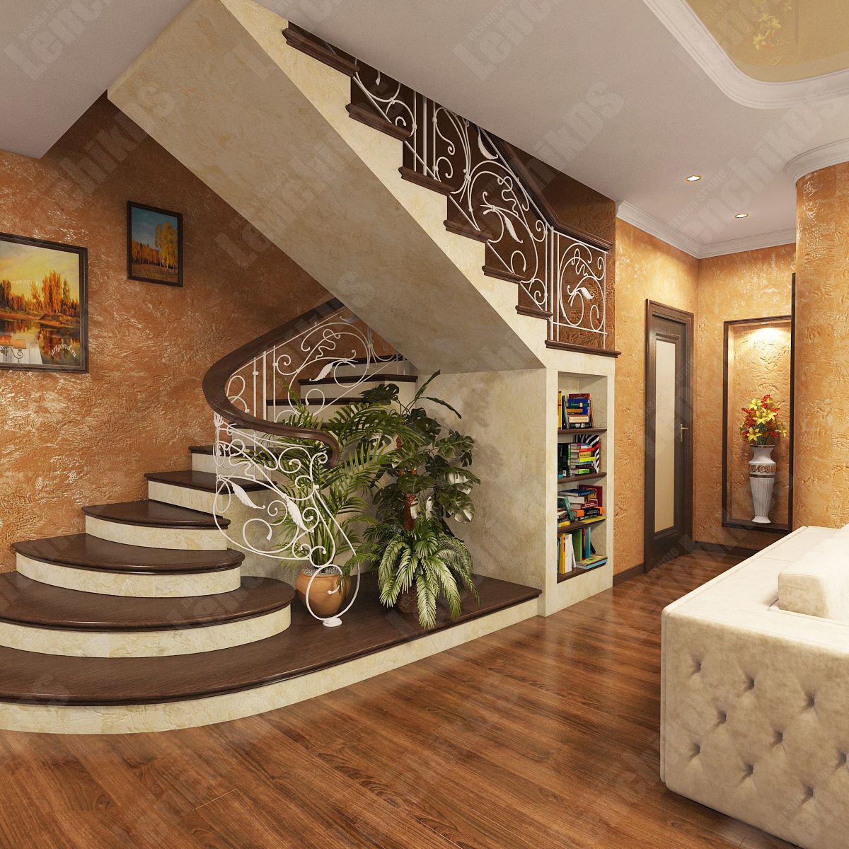 Дизайн первого этажа с лестницей