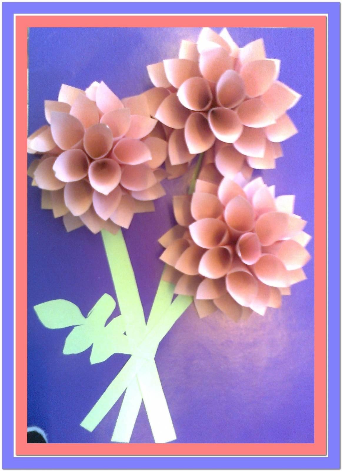 Открытка из цветной бумаги с цветами 71