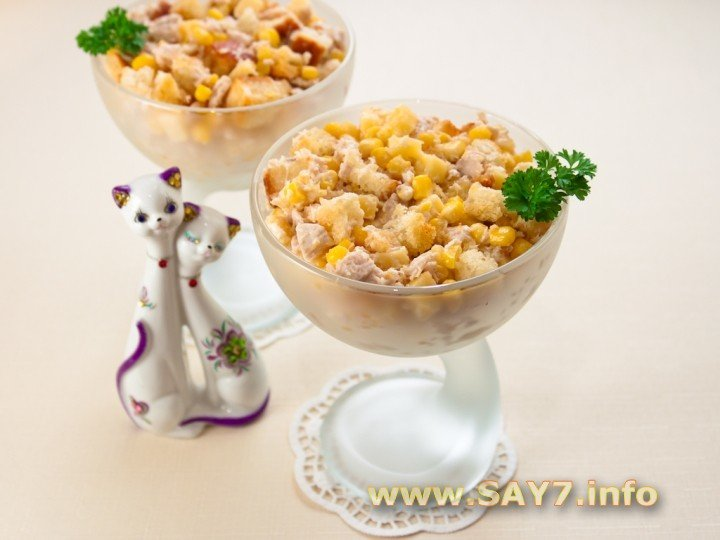 Салат с кукурузой сыром и сухариками рецепт с