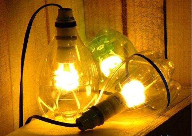 Лампа из бутылок пластиковых своими руками 62