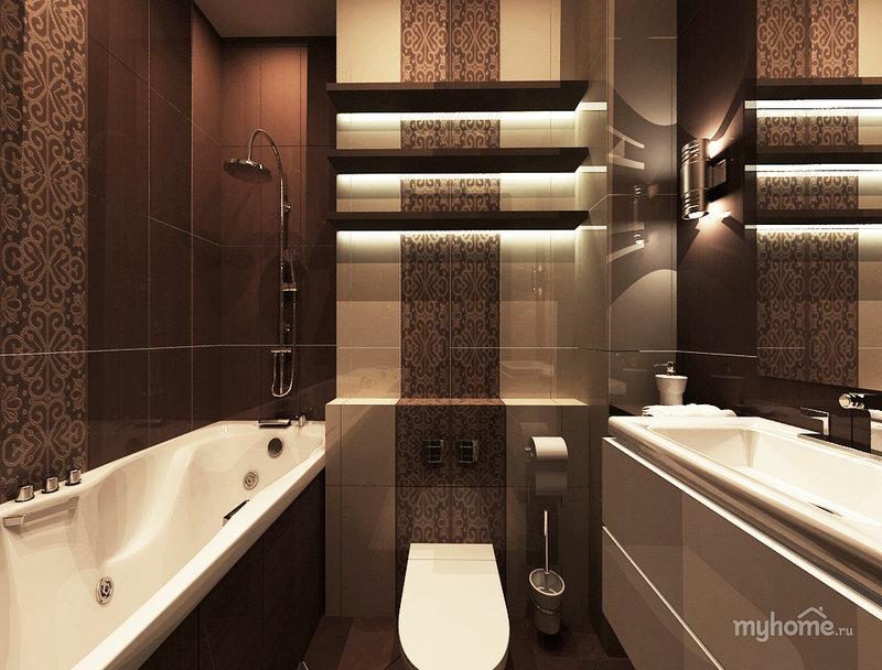 Дизайн ванной комнаты в коричневых и бежевых тонах