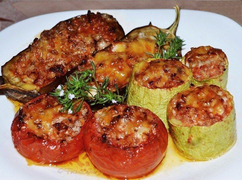 Баклажан с фаршированный мясом и рисом рецепт в