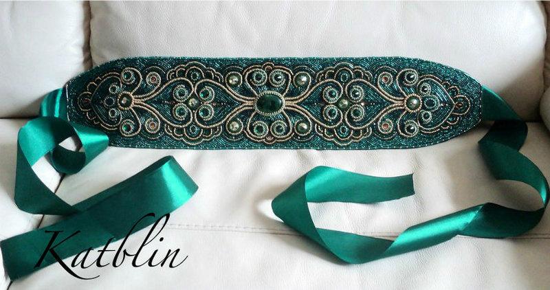 Пояс для платья расшитый бисером своими руками