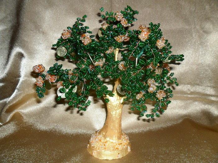 Денежное дерево из бисера пошагово фото