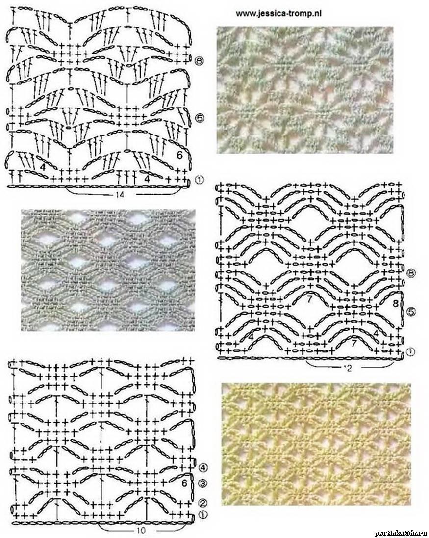 Вязание крючком образцы узоров схемы 48