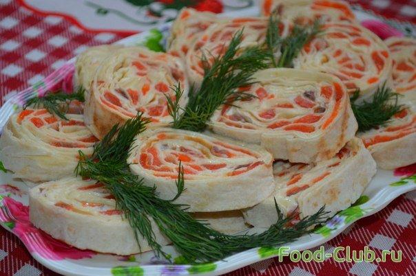 Рулет из лаваша с красной рыбой и маслом пошаговый рецепт