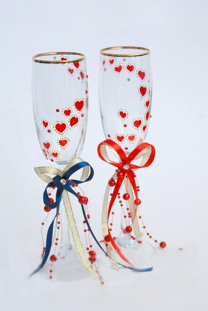 Свадебные бокалы своими руками с рисунками