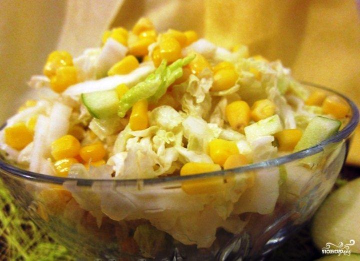 Салат из пекинской капусты и яблока и кукурузы