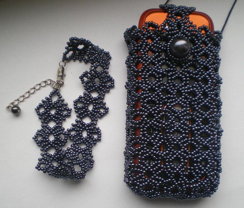 Вязание крючком с бисером чехол для телефона мастер класс