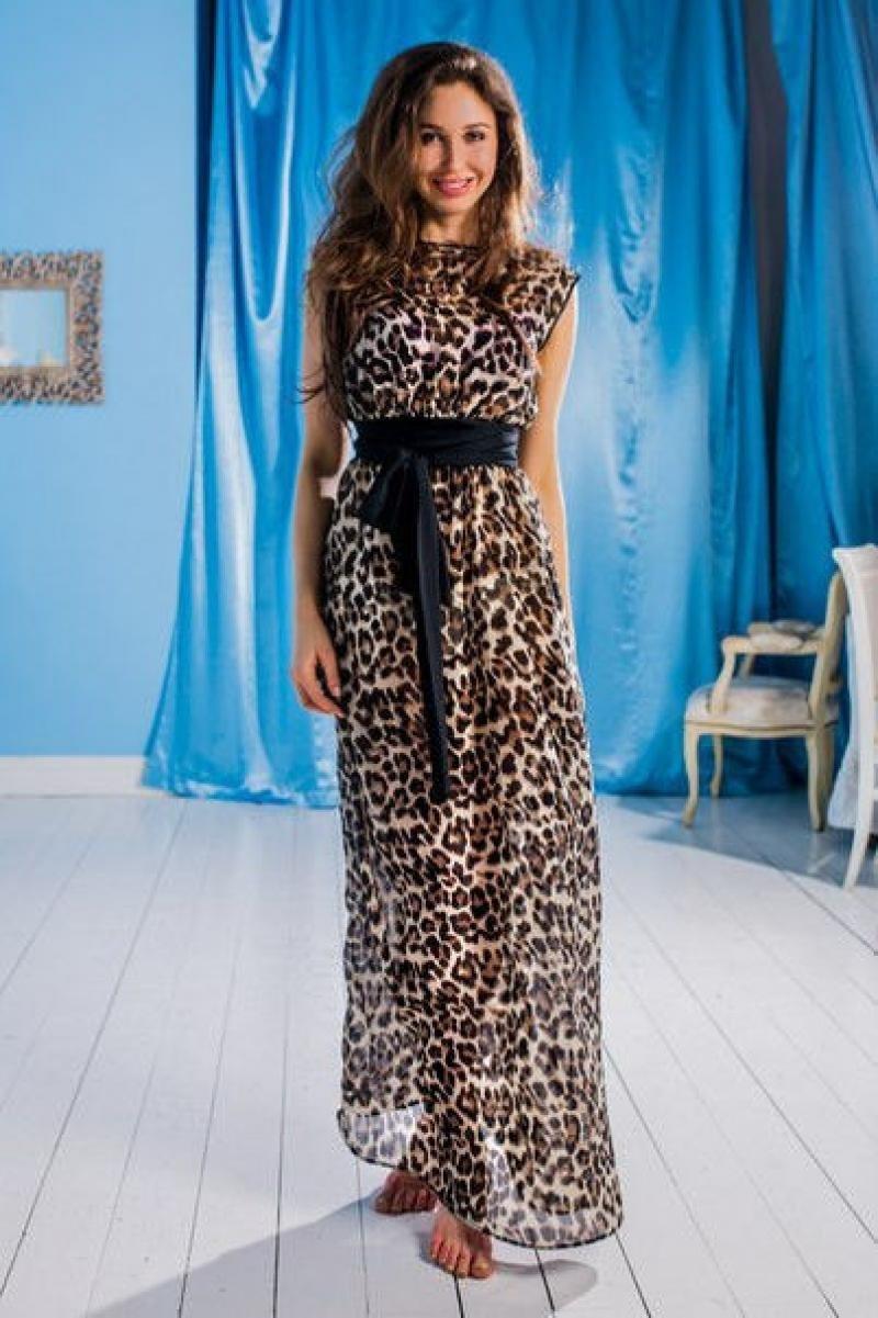 Леопардовые платья длинные
