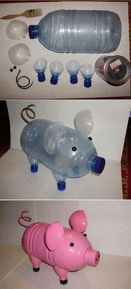 Как из бутылок сделать хрюшку из пластиковой бутылки