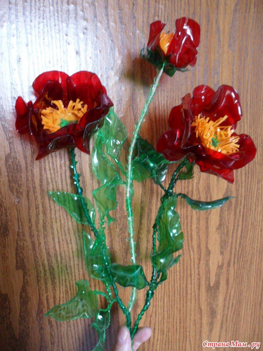 Розы из бутылок пошагово