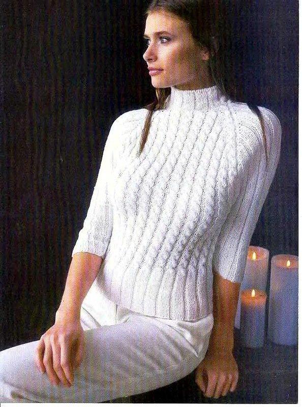 Вязание женской кофты реглан 54