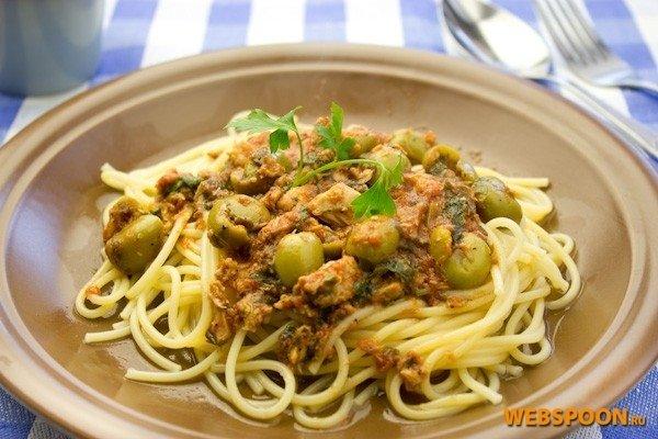 Рецепт спагетти с тунцом консервированным
