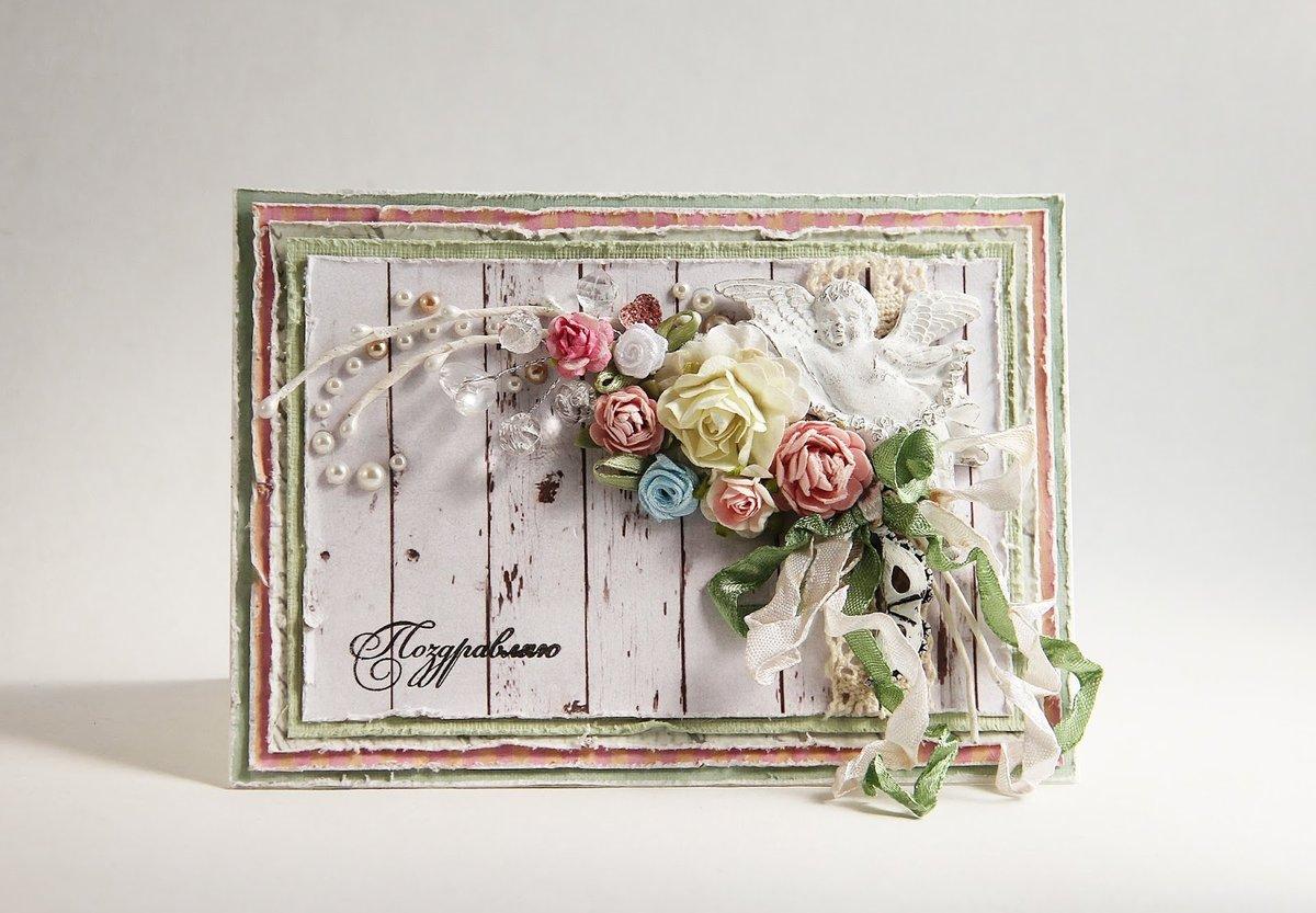 Свадебная открытка своими руками в стиле шебби-шик 80